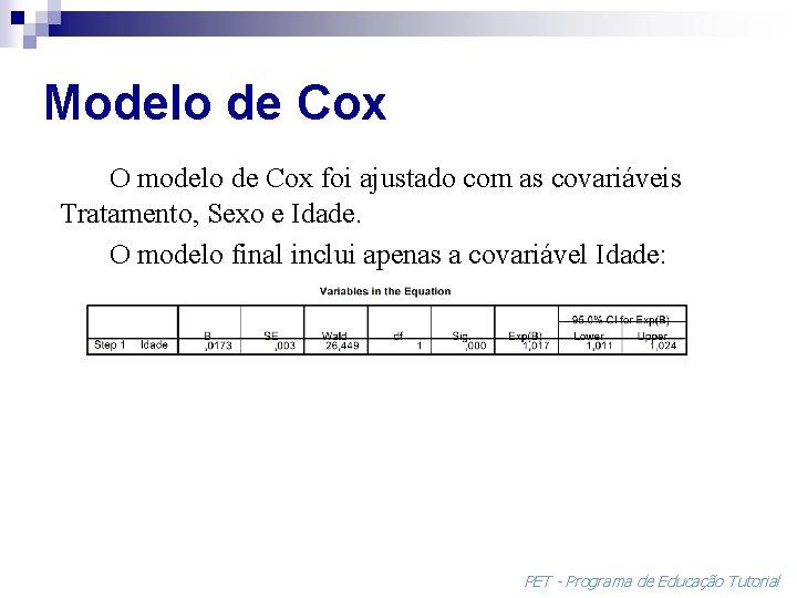 Modelo de Cox O modelo de Cox foi ajustado com as covariáveis Tratamento, Sexo