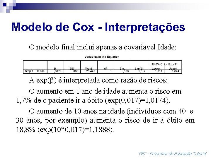 Modelo de Cox - Interpretações O modelo final inclui apenas a covariável Idade: A