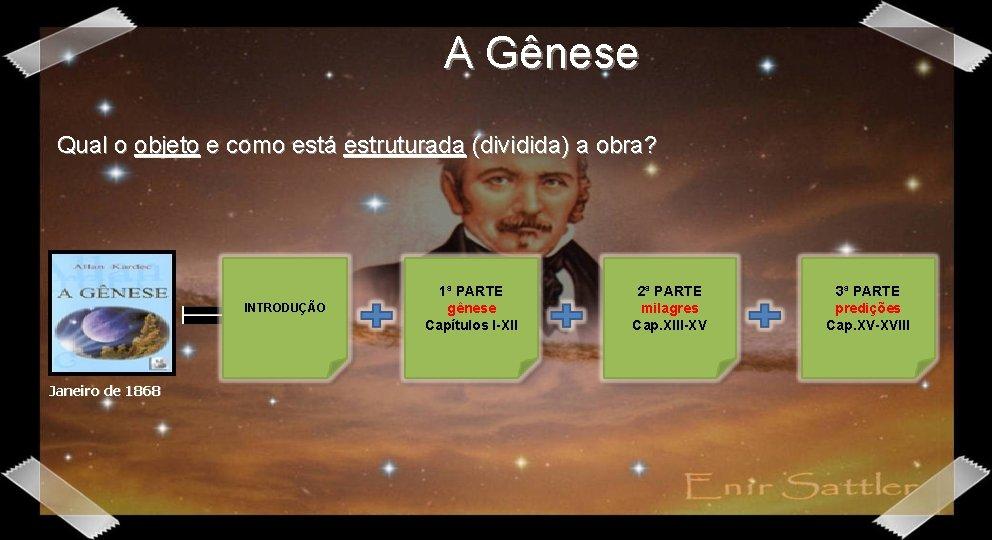 A Gênese Qual o objeto e como está estruturada (dividida) a obra? INTRODUÇÃO Janeiro