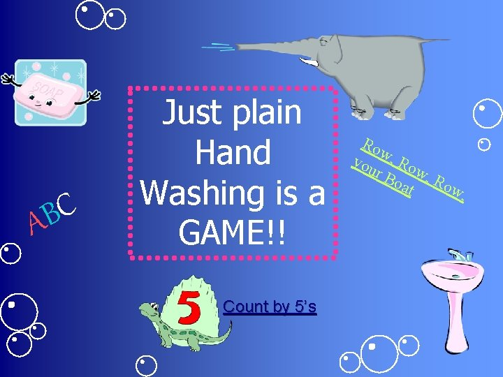 C B A Just plain Hand Washing is a GAME!! Count by 5's Ro