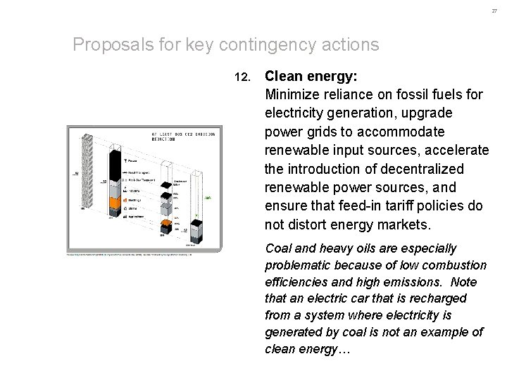 27 Proposals for key contingency actions 12. Clean energy: Minimize reliance on fossil fuels