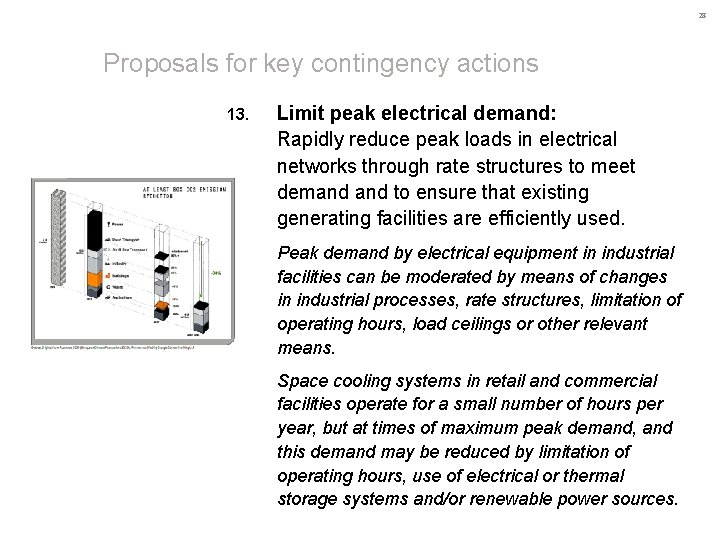 28 Proposals for key contingency actions 13. Limit peak electrical demand: Rapidly reduce peak