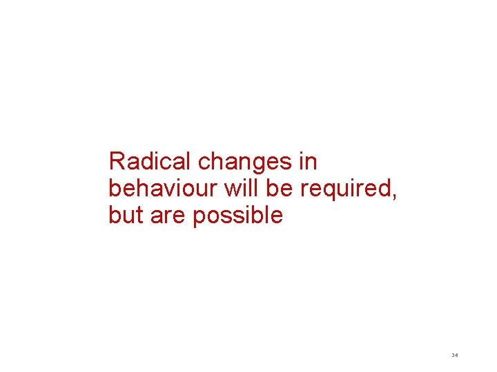 Radical changes in behaviour will be required, but are possible 34