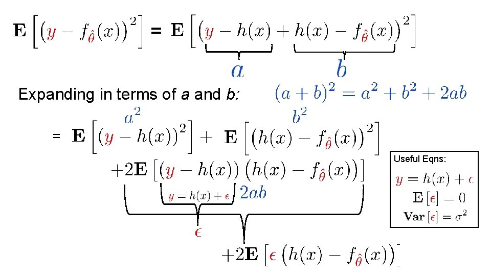 = Expanding in terms of a and b: = Useful Eqns: