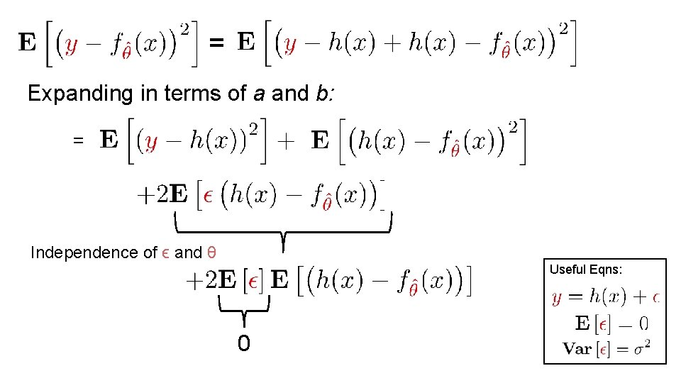 = Expanding in terms of a and b: = Independence of ϵ and θ