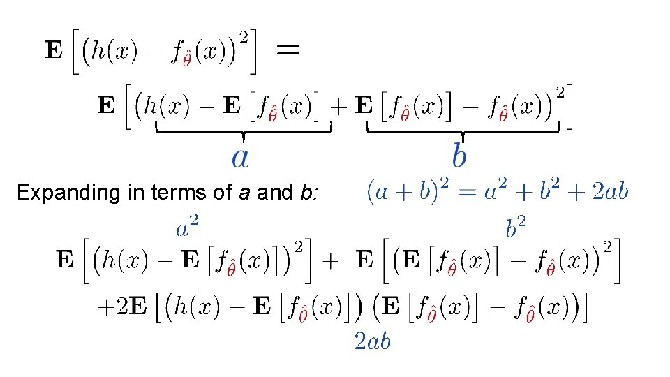 Expanding in terms of a and b:
