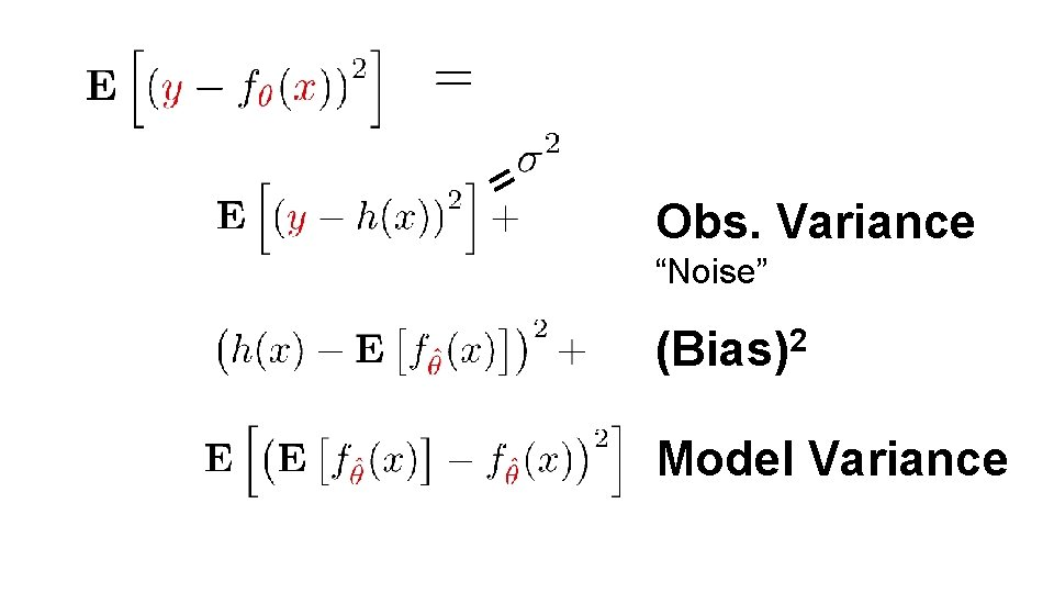 "= Obs. Variance ""Noise"" (Bias)2 Model Variance"