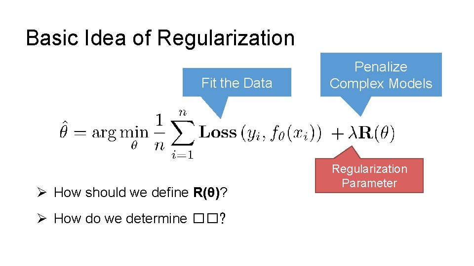 Basic Idea of Regularization Fit the Data Ø How should we define R(θ)? Ø