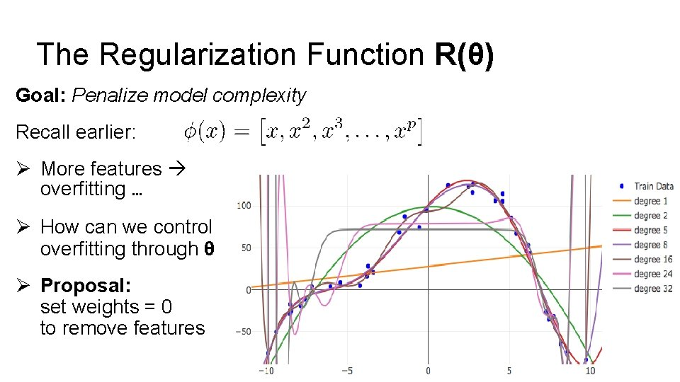 The Regularization Function R(θ) Goal: Penalize model complexity Recall earlier: Ø More features overfitting
