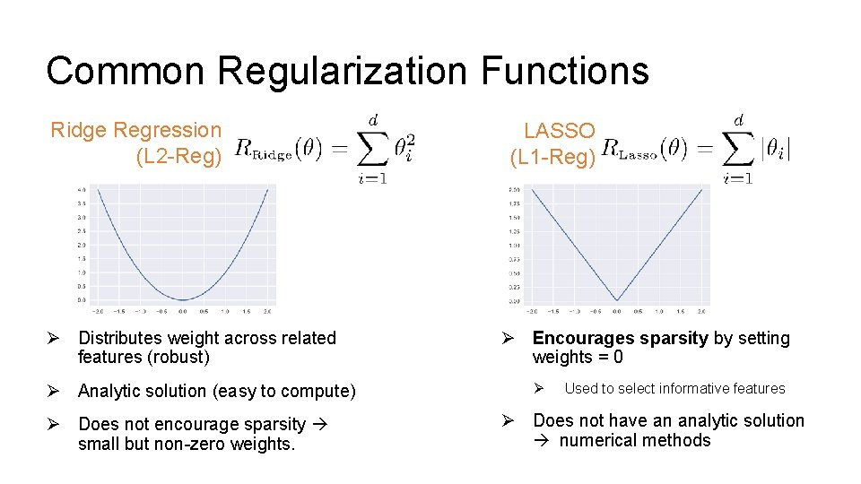 Common Regularization Functions Ridge Regression (L 2 -Reg) Ø Distributes weight across related features
