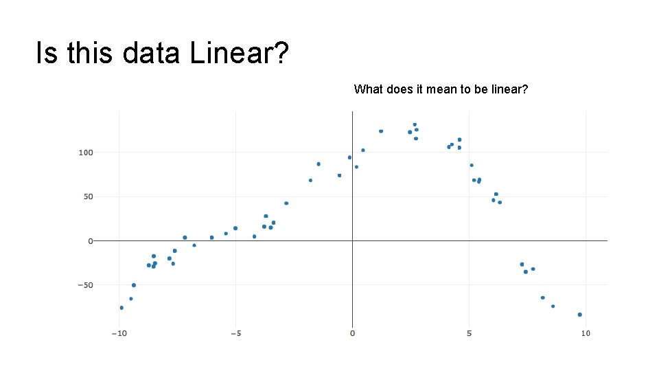 Is this data Linear? What does it mean to be linear?