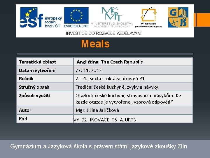 Meals Tematická oblast Angličtina: The Czech Republic Datum vytvoření 27. 11. 2012 Ročník 2.