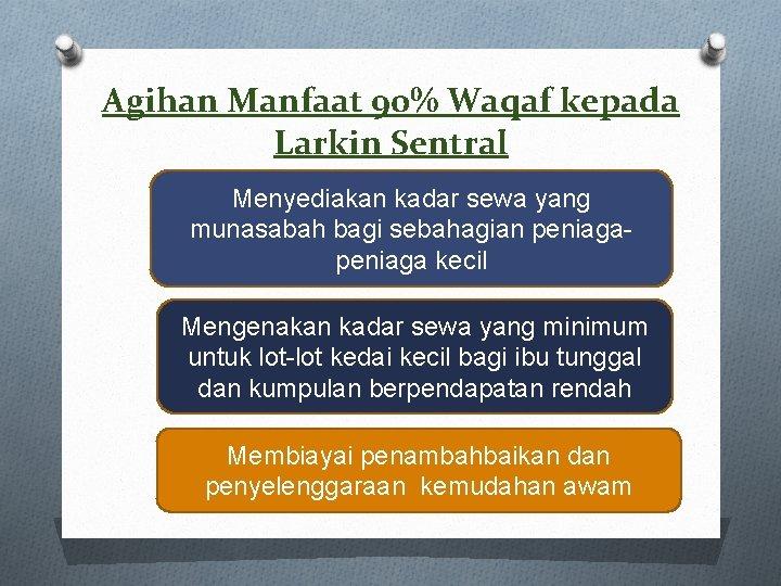 Agihan Manfaat 90% Waqaf kepada Larkin Sentral Menyediakan kadar sewa yang munasabah bagi sebahagian
