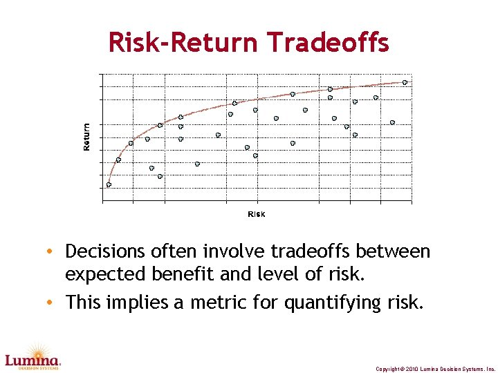 Risk-Return Tradeoffs • Decisions often involve tradeoffs between expected benefit and level of risk.