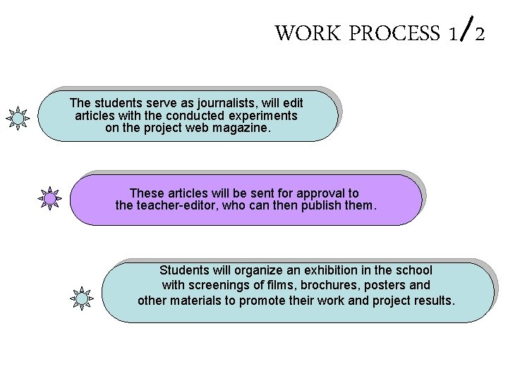 WORK PROCESS 1/2 The students serve as journalists, will edit articles with the conducted