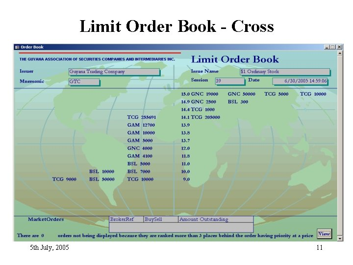 Limit Order Book - Cross 5 th July, 2005 11