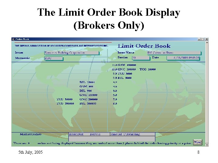 The Limit Order Book Display (Brokers Only) 5 th July, 2005 8
