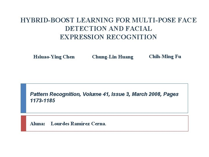 HYBRID-BOOST LEARNING FOR MULTI-POSE FACE DETECTION AND FACIAL EXPRESSION RECOGNITION Hsiuao-Ying Chen Chung-Lin Huang