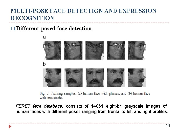 MULTI-POSE FACE DETECTION AND EXPRESSION RECOGNITION � Different-posed face detection FERET face database, consists