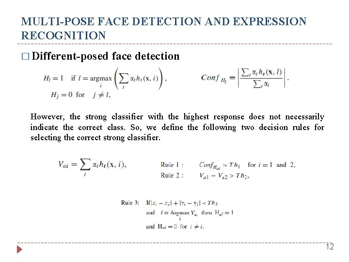 MULTI-POSE FACE DETECTION AND EXPRESSION RECOGNITION � Different-posed face detection However, the strong classifier