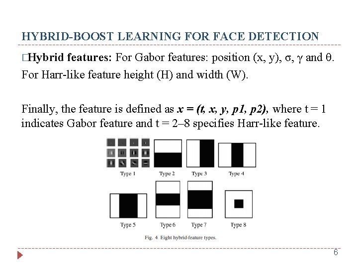 HYBRID-BOOST LEARNING FOR FACE DETECTION �Hybrid features: For Gabor features: position (x, y), σ,