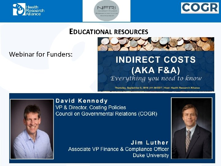 EDUCATIONAL RESOURCES Webinar for Funders:
