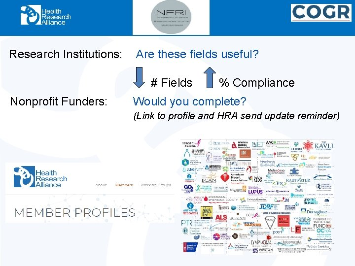 Research Institutions: Are these fields useful? # Fields Nonprofit Funders: % Compliance Would you