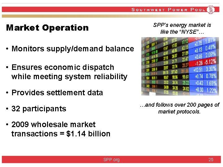 "Market Operation SPP's energy market is like the ""NYSE""… • Monitors supply/demand balance •"