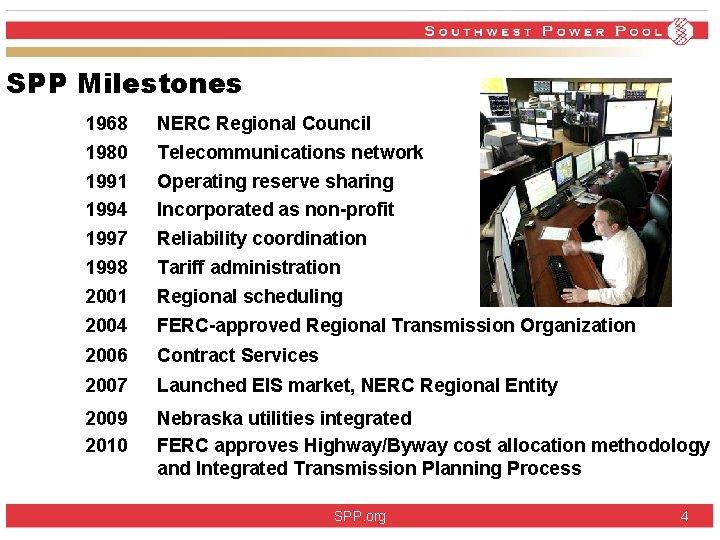 SPP Milestones 1968 NERC Regional Council 1980 Telecommunications network 1991 Operating reserve sharing 1994