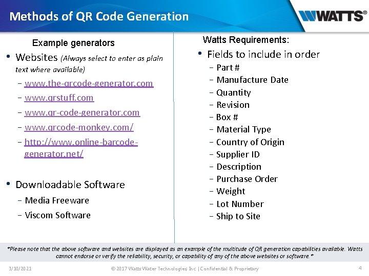 Methods of QR Code Generation Example generators • Websites (Always select to enter as