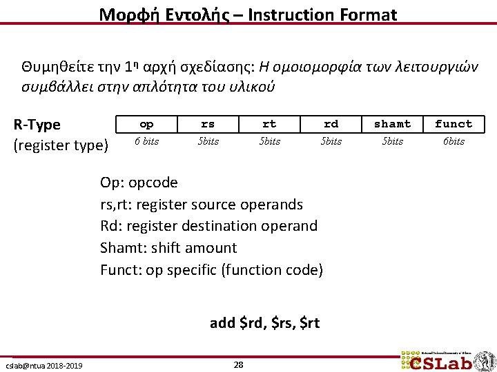 Μορφή Εντολής – Instruction Format Θυμηθείτε την 1η αρχή σχεδίασης: Η ομοιομορφία των λειτουργιών