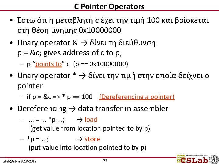 C Pointer Operators • Έστω ότι η μεταβλητή c έχει την τιμή 100 και