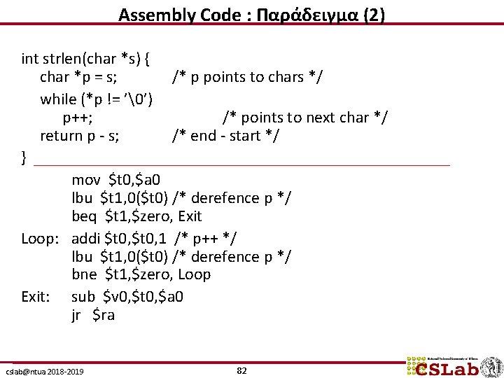 Assembly Code : Παράδειγμα (2) int strlen(char *s) { char *p = s; /*