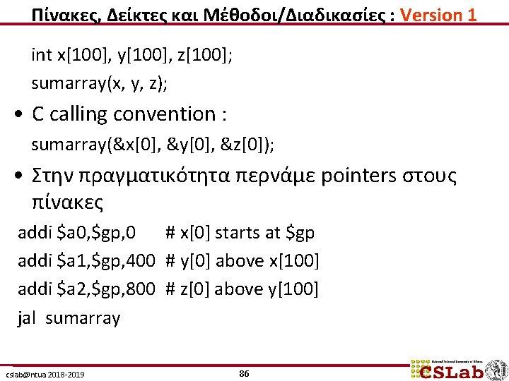 Πίνακες, Δείκτες και Μέθοδοι/Διαδικασίες : Version 1 int x[100], y[100], z[100]; sumarray(x, y, z);