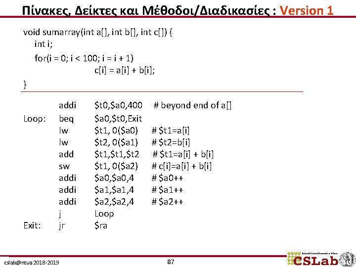 Πίνακες, Δείκτες και Μέθοδοι/Διαδικασίες : Version 1 void sumarray(int a[], int b[], int c[])