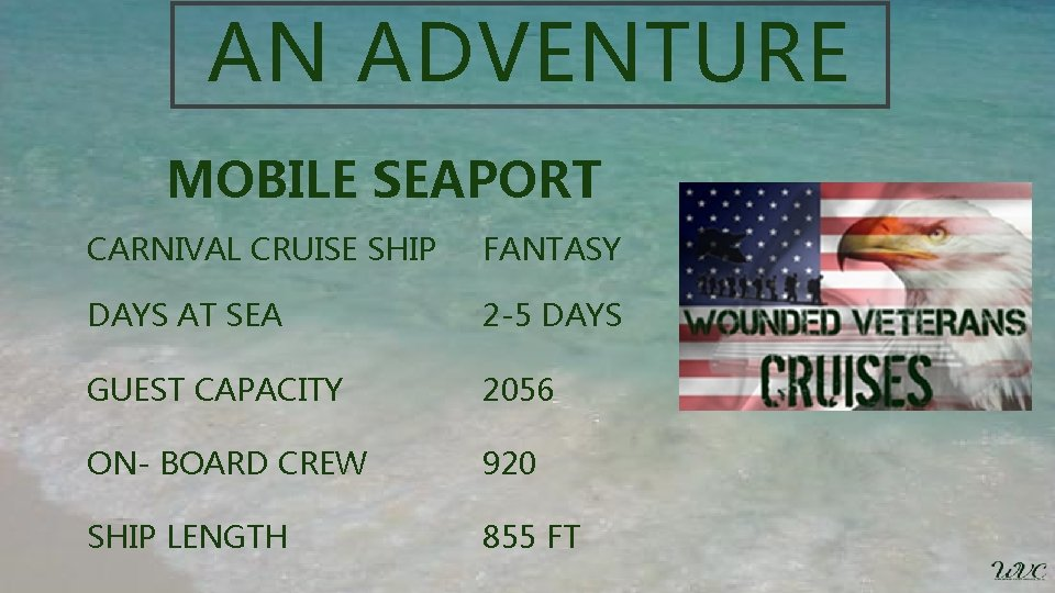 AN ADVENTURE MOBILE SEAPORT CARNIVAL CRUISE SHIP FANTASY DAYS AT SEA 2 -5 DAYS