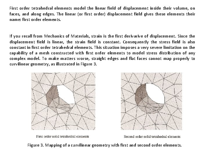 First order tetrahedral elements model the linear field of displacement inside their volume, on