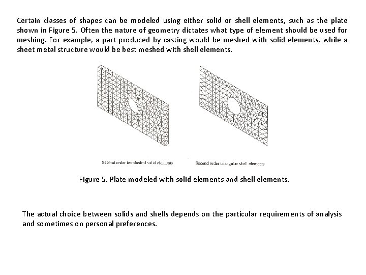 Certain classes of shapes can be modeled using either solid or shell elements, such
