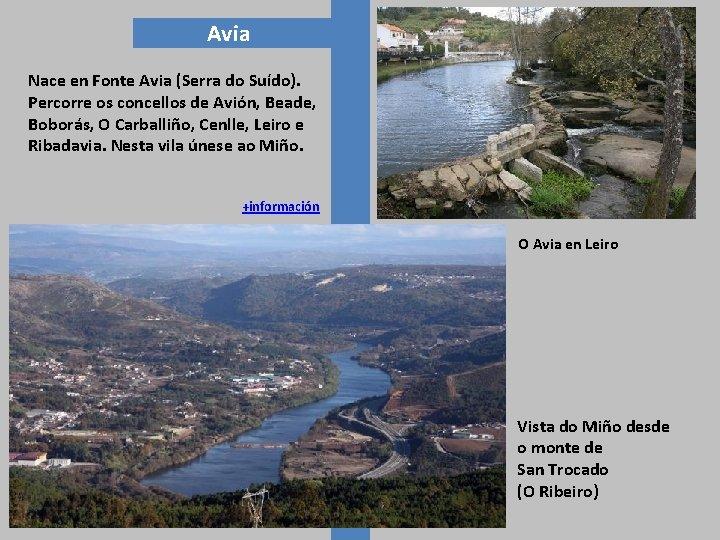 Avia Nace en Fonte Avia (Serra do Suído). Percorre os concellos de Avión, Beade,