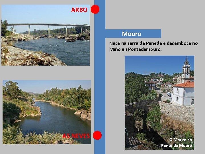 ARBO Mouro Nace na serra da Peneda e desemboca no Miño en Pontedemouro. AS