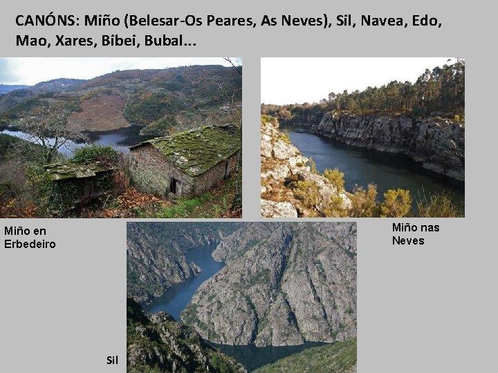 CANÓNS: Miño (Belesar-Os Peares, As Neves), Sil, Navea, Edo, Mao, Xares, Bibei, Bubal. .