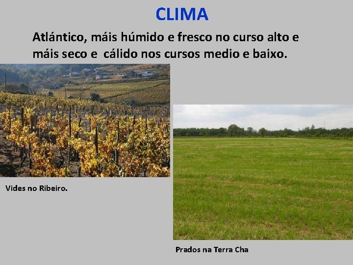CLIMA Atlántico, máis húmido e fresco no curso alto e máis seco e cálido