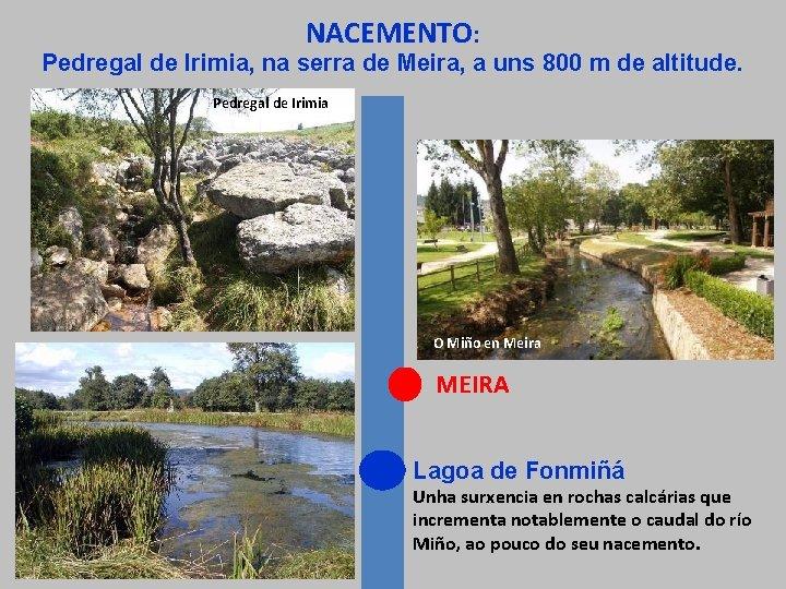 NACEMENTO: Pedregal de Irimia, na serra de Meira, a uns 800 m de altitude.