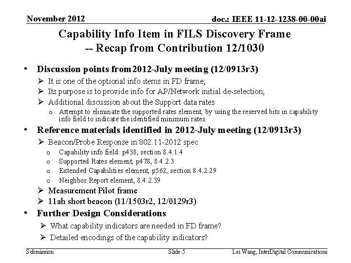 November 2012 doc. : IEEE 11 -12 -1238 -00 -00 ai Capability Info Item
