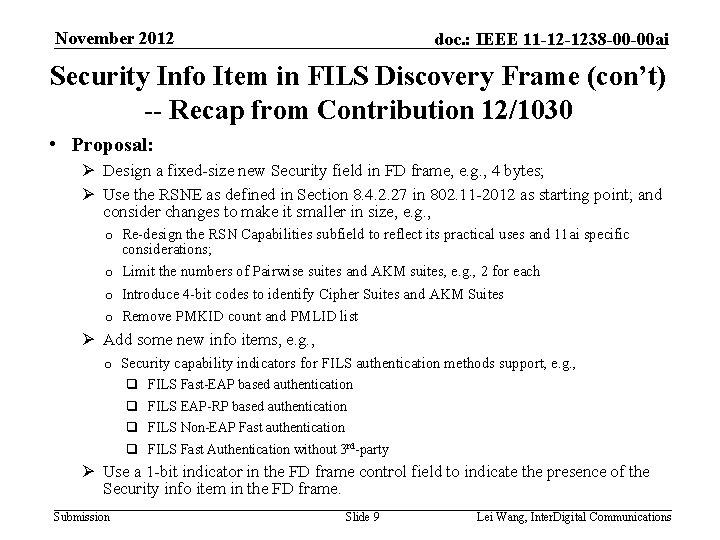 November 2012 doc. : IEEE 11 -12 -1238 -00 -00 ai Security Info Item