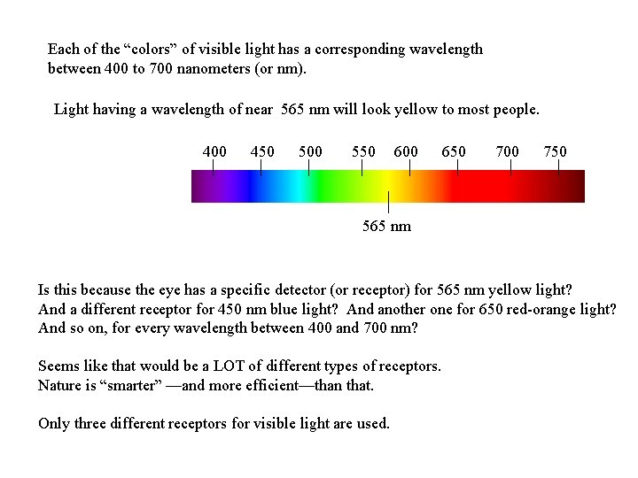 """Each of the """"colors"""" of visible light has a corresponding wavelength between 400 to"""
