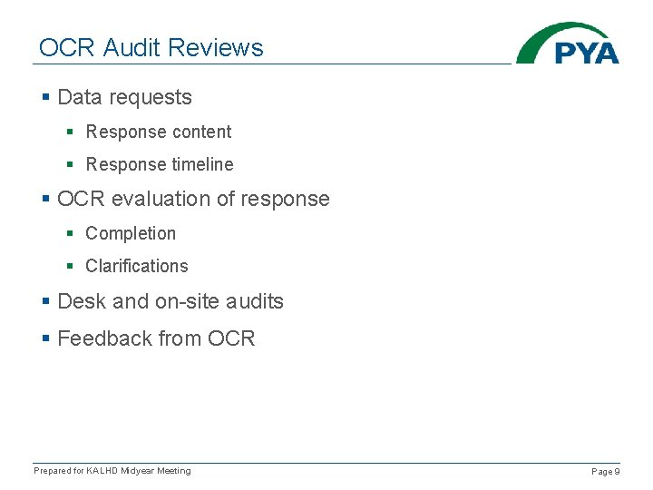 OCR Audit Reviews § Data requests § Response content § Response timeline § OCR