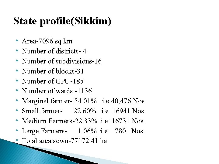 State profile(Sikkim) Area-7096 sq km Number of districts- 4 Number of subdivisions-16 Number of