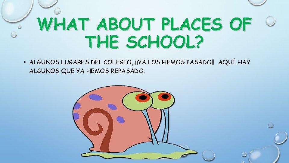 WHAT ABOUT PLACES OF THE SCHOOL? • ALGUNOS LUGARES DEL COLEGIO, ¡¡YA LOS HEMOS