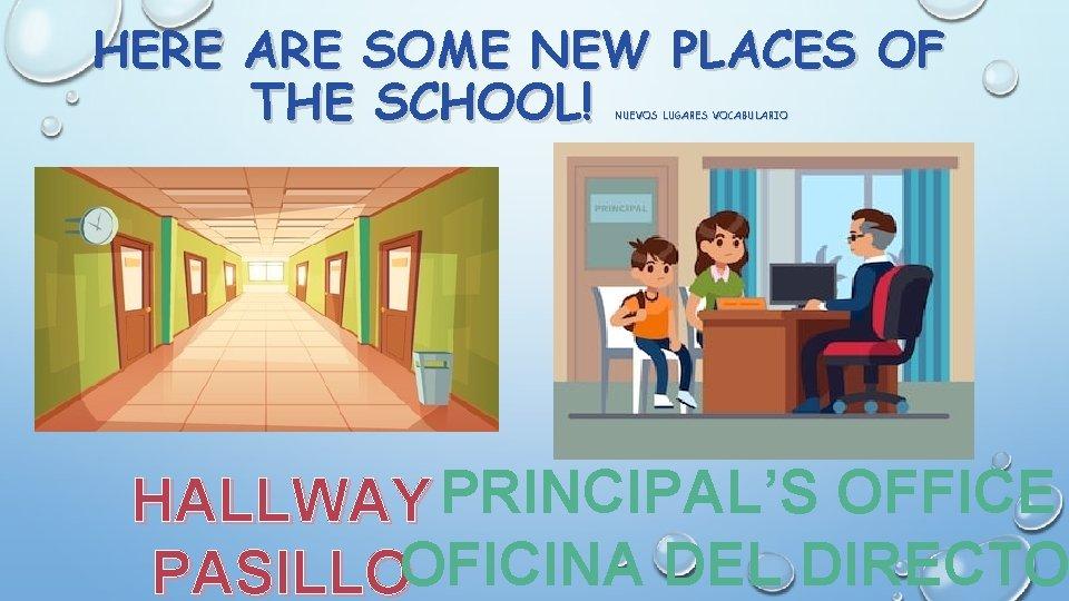 HERE ARE SOME NEW PLACES OF THE SCHOOL! NUEVOS LUGARES VOCABULARIO HALLWAY PRINCIPAL'S OFFICE